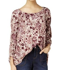 Style & Co Floral Print Blouse Large New